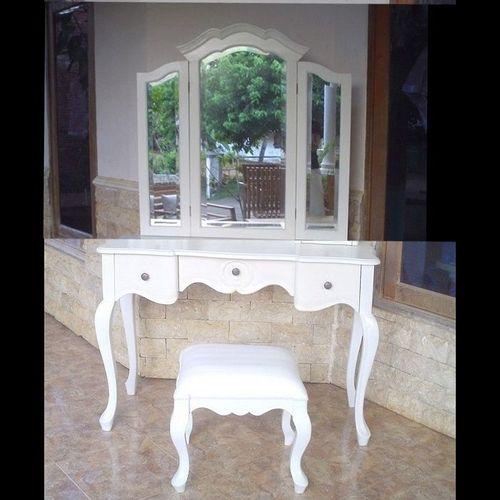 Mahagoni Frisiertisch POMPADOUR Weiß inkl. 3er Spiegel & Hocker 110cm - 4