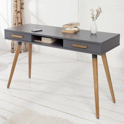 Retro Schreibtisch GÖTEBORG Grau mit 2 Schubladen 120cm x 45cm im skandinavischen Stil - 1