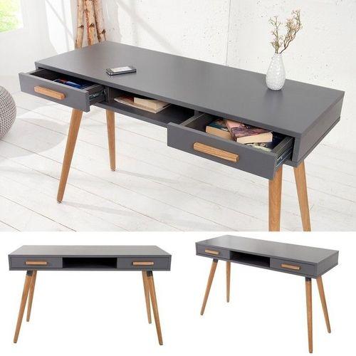 Retro Schreibtisch GÖTEBORG Grau mit 2 Schubladen 120cm x 45cm im skandinavischen Stil - 2