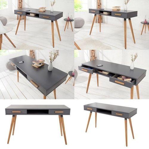 Retro Schreibtisch GÖTEBORG Grau mit 2 Schubladen 120cm x 45cm im skandinavischen Stil - 3