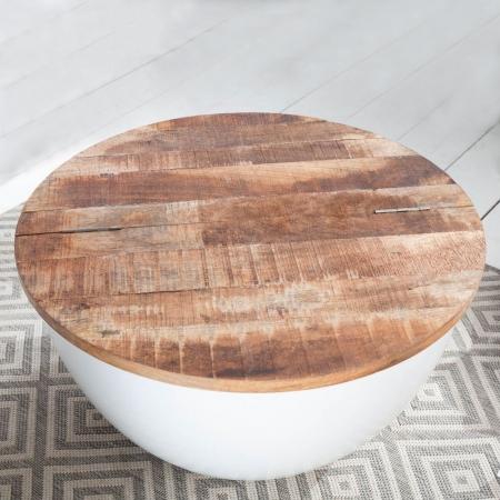 Industriedesign Couchtisch PULIM Natur aus Mangoholz und Metallkorpus Weiß 70cm Ø - 1