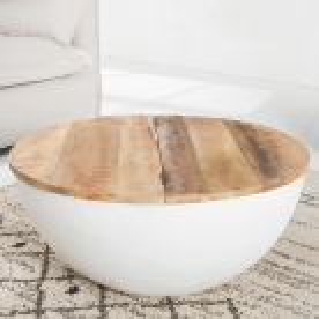 Industriedesign Couchtisch PULIM Natur aus Mangoholz und Metallkorpus Weiß 70cm Ø - 2