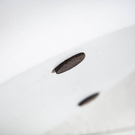 Industriedesign Couchtisch PULIM Natur aus Mangoholz und Metallkorpus Weiß 70cm Ø - 5