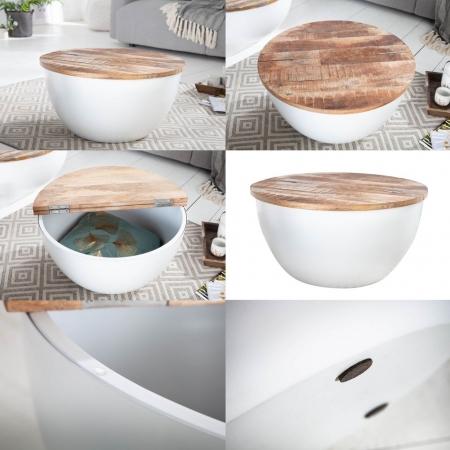 Industriedesign Couchtisch PULIM Natur aus Mangoholz und Metallkorpus Weiß 70cm Ø - 6