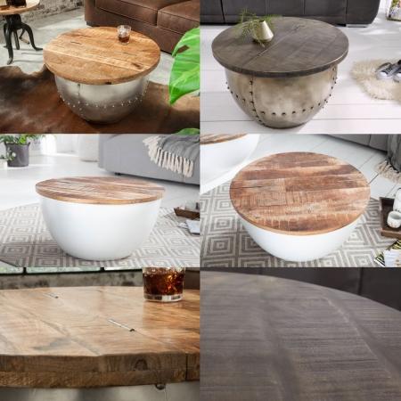 Industriedesign Couchtisch PULIM Natur aus Mangoholz und Metallkorpus Weiß 70cm Ø - 7