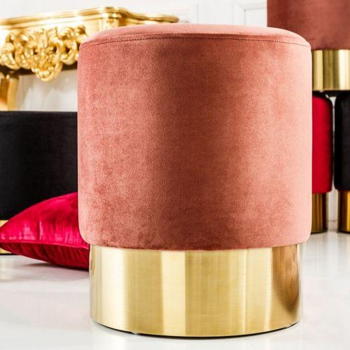 Sitzhocker POMPIDOU Antik-Rosa aus Samtstoff mit Gold Metallsockel in Barock-Design 35cm x 41cm - 1