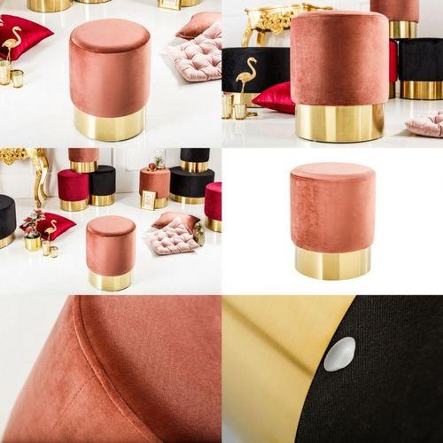 Sitzhocker POMPIDOU Antik-Rosa aus Samtstoff mit Gold Metallsockel in Barock-Design 35cm x 41cm - 3