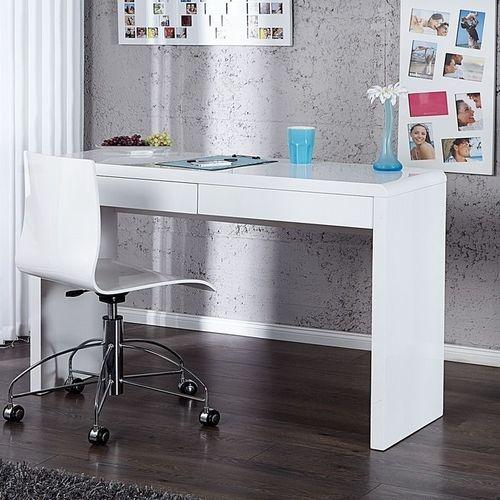 Schreibtisch ABERDEEN Weiß Hochglanz mit 2 Schubladen 120cm - 1
