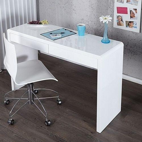 Schreibtisch ABERDEEN Weiß Hochglanz mit 2 Schubladen 120cm ...