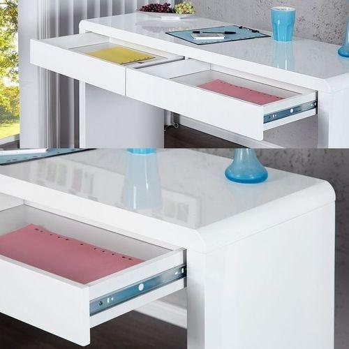 Schreibtisch ABERDEEN Weiß Hochglanz mit 2 Schubladen 120cm - 3
