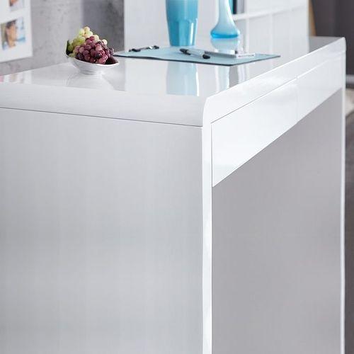 Schreibtisch ABERDEEN Weiß Hochglanz mit 2 Schubladen 120cm - 4