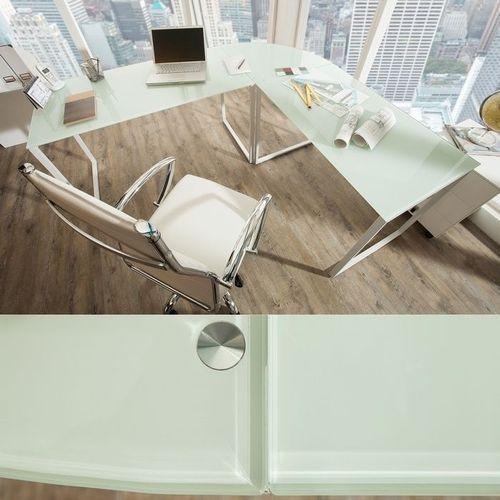 Eckschreibtisch MANHATTAN Weiß aus Glas mit weißem Gestell 180cm x 160cm - 2