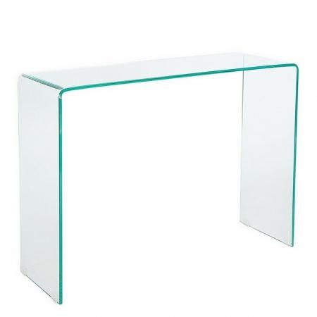 Glas-Schreibtisch MAYFAIR transparent aus einem Guss 100cm x 35cm - 5
