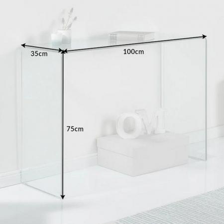 Glas-Schreibtisch MAYFAIR transparent aus einem Guss 100cm x 35cm - 6