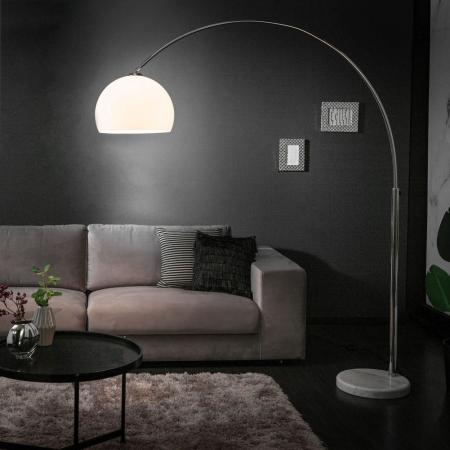 Bogenlampe LUXX Weiß mit Marmorfuß Weiß 175-205cm Höhe - 1