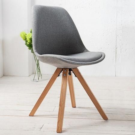 Retro Stuhl GÖTEBORG Grau Strukturstoff im skandinavischen Stil - 1