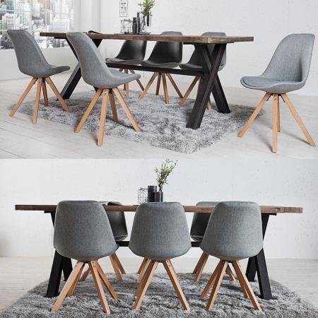 Retro Stuhl GÖTEBORG Grau Strukturstoff im skandinavischen Stil - 2