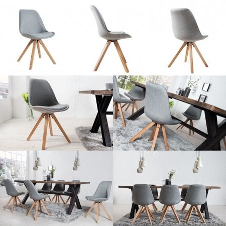 Retro Stuhl GÖTEBORG Grau Strukturstoff im skandinavischen Stil - 3