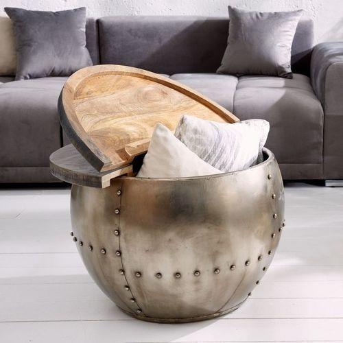 Industriedesign Couchtisch PULIM Grau aus Mangoholz und pulverbeschichtetes Metall mit Schweißnieten 68cm Ø - 2