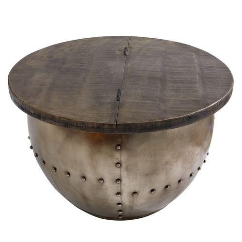 Industriedesign Couchtisch PULIM Grau aus Mangoholz und pulverbeschichtetes Metall mit Schweißnieten 68cm Ø - 3
