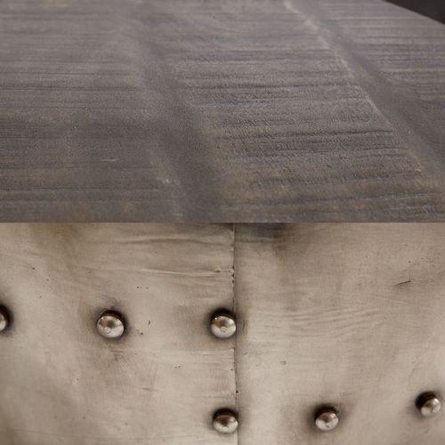 Industriedesign Couchtisch PULIM Grau aus Mangoholz und pulverbeschichtetes Metall mit Schweißnieten 68cm Ø - 4