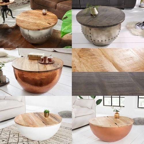Industriedesign Couchtisch PULIM Grau aus Mangoholz und pulverbeschichtetes Metall mit Schweißnieten 68cm Ø - 6