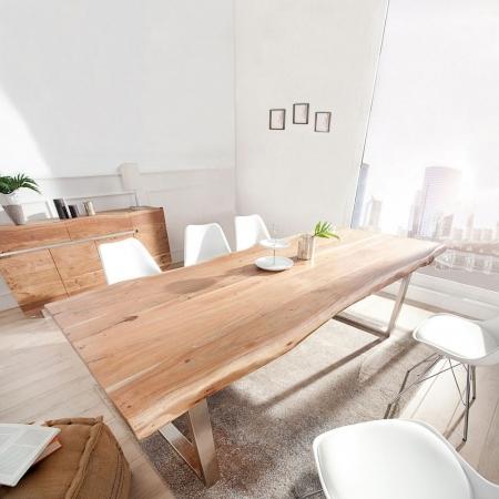 Esstisch AMBA Natur massiv Akazienholz 200cm & 60mm Tischplatte - 1