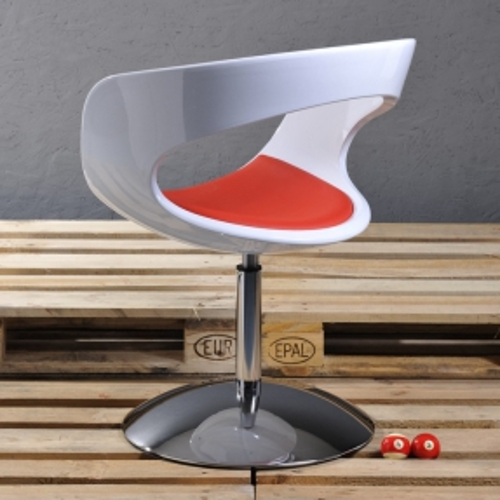 Sessel HELSINKI Weiß-Rot drehbar - 2