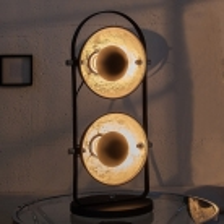 2er Tischlampe SPOT Schwarz-Silber 55cm Höhe - 1