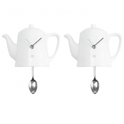 Wanduhr KITCHEN Teekanne Pendulum Weiß 22cm Höhe - 1