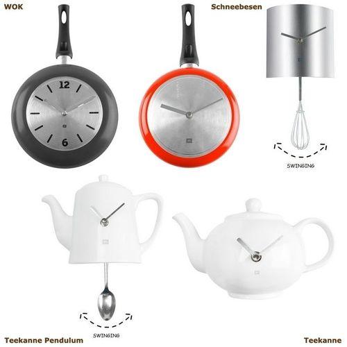Wanduhr KITCHEN Teekanne Pendulum Weiß 22cm Höhe - 3