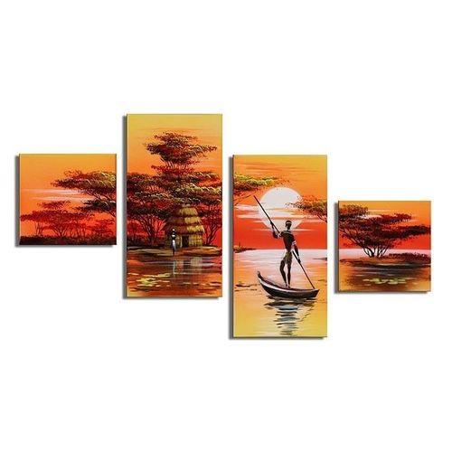 4 Leinwandbilder AFRIKA Mann (1) 80 x 50cm Handgemalt - 1