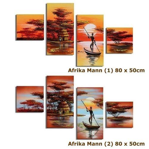 4 Leinwandbilder AFRIKA Mann (1) 80 x 50cm Handgemalt - 3