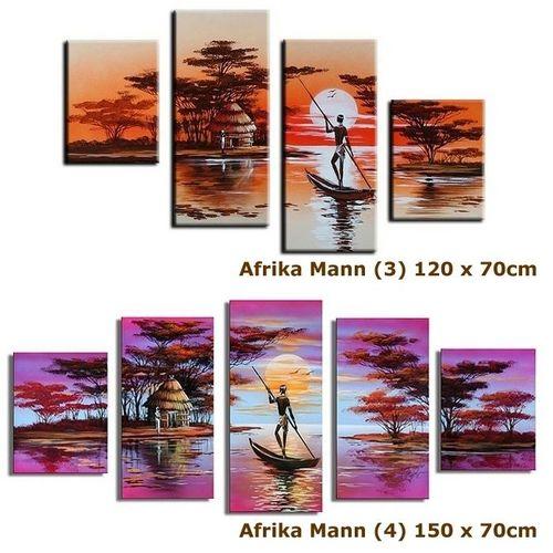4 Leinwandbilder AFRIKA Mann (1) 80 x 50cm Handgemalt - 4