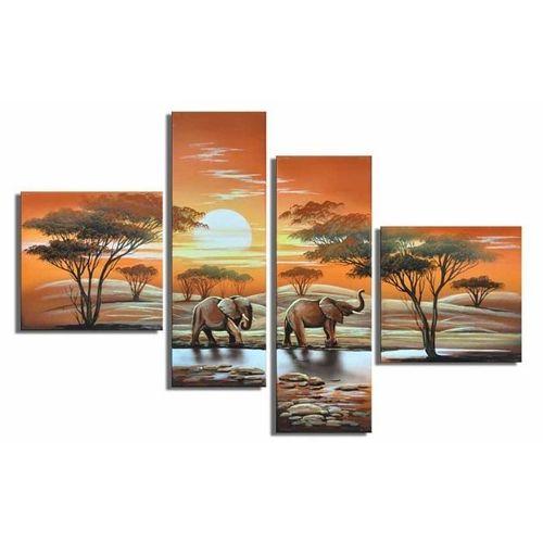4 Leinwandbilder AFRIKA Elefant (1) 100 x 70cm Handgemalt - 1