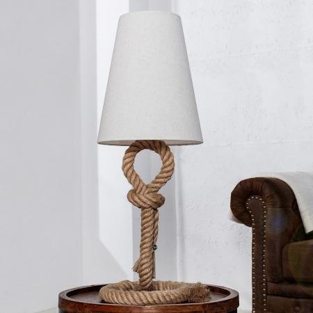 XL Tischlampe SCHIFFSTAU Beige mit Knoten & Schlaufen aus Manilahanf handgefertigt 80cm Höhe - 1