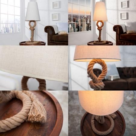 XL Tischlampe SCHIFFSTAU Beige mit Knoten & Schlaufen aus Manilahanf handgefertigt 80cm Höhe - 3