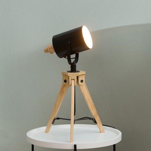 Tischlampe STUDIO Schwarz mit Gestell aus Kiefernholz 58-78cm Höhe - 1