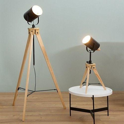 Tischlampe STUDIO Schwarz mit Gestell aus Kiefernholz 58-78cm Höhe - 3