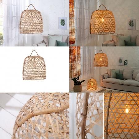 Hängelampe BIDDY Natur aus geflochtenem Bambus handgefertigt 70cm Höhe - 3