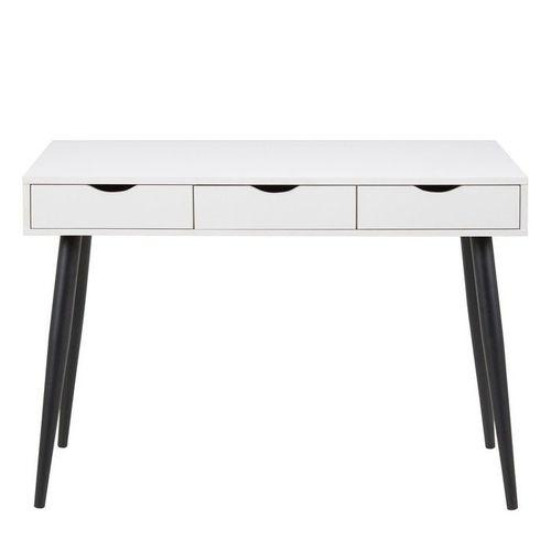 Schreibtisch VIBORG Weiß mit 3 Schubladen und schwarze Beine 110cm x 50cm - 1
