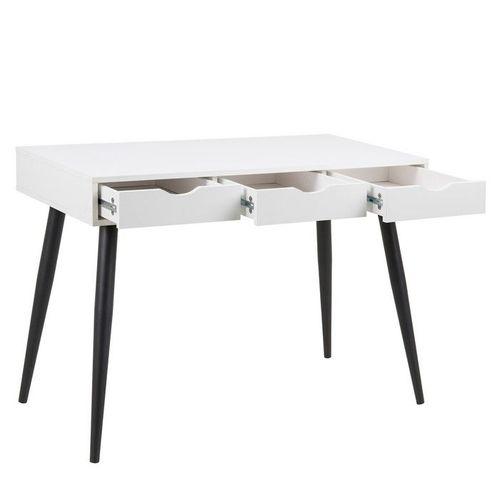 Schreibtisch VIBORG Weiß mit 3 Schubladen und schwarze Beine 110cm - 2