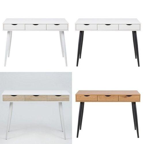 Schreibtisch VIBORG Weiß mit 3 Schubladen und schwarze Beine 110cm - 4