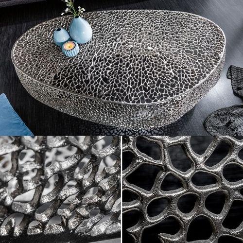 Couchtisch NUBE Silber aus Aluminium im Aststruktur-Design handgefertigt 122cm - 2