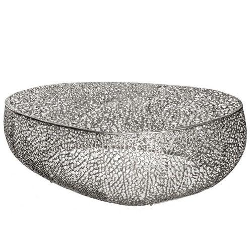 Couchtisch NUBE Silber aus Aluminium im Aststruktur-Design handgefertigt 122cm - 3