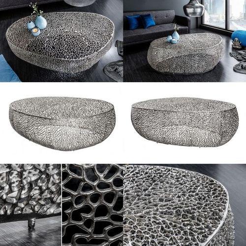 Couchtisch NUBE Silber aus Aluminium im Aststruktur-Design handgefertigt 122cm - 5