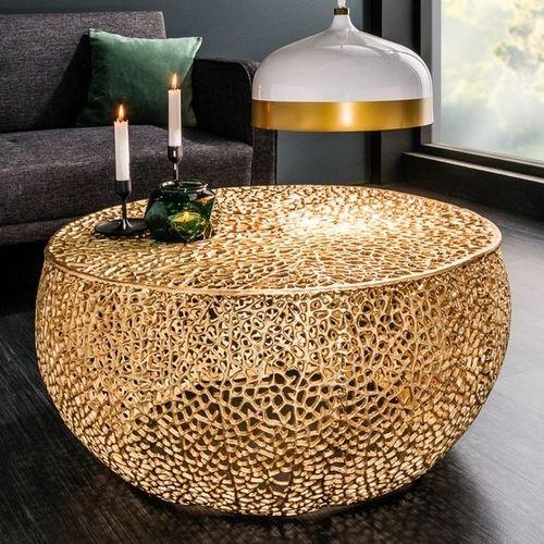 Couchtisch NUBE Gold aus Aluminium im Aststruktur-Design handgefertigt 80cm Ø - 1