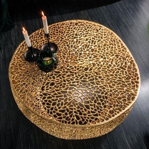 Couchtisch NUBE Gold aus Aluminium im Aststruktur-Design handgefertigt 80cm Ø - 2