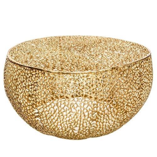 Couchtisch NUBE Gold aus Aluminium im Aststruktur-Design handgefertigt 80cm Ø - 3