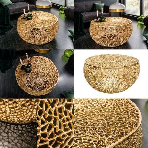 Couchtisch NUBE Gold aus Aluminium im Aststruktur-Design handgefertigt 80cm Ø - 5